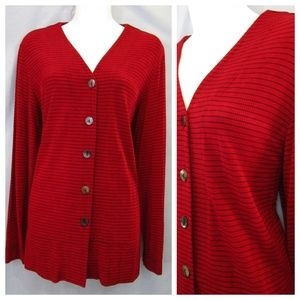 Chico's Travelers Red Stripe Cardigan Sweater 1 M